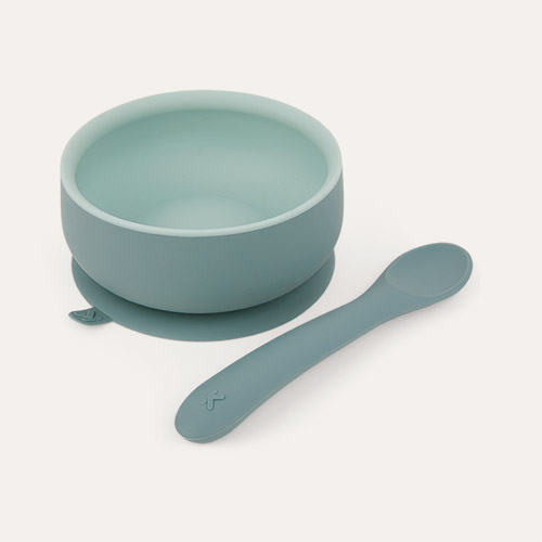 Jade Mix KIDLY Label Suction Bowl & Spoon Set