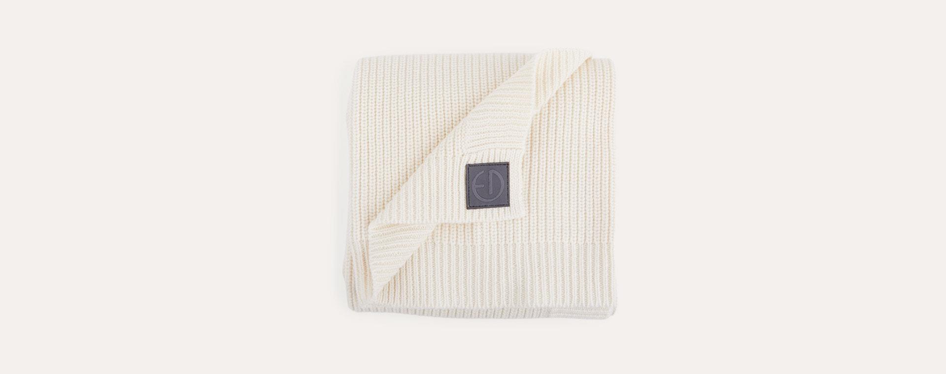 Vanilla White Elodie Wool Knitted Blankets