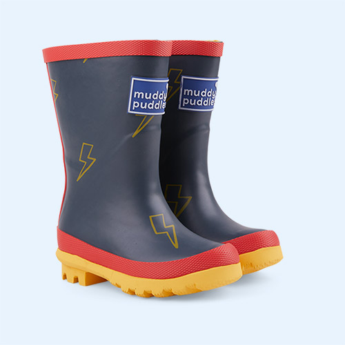 Navy Lightening Muddy Puddles Puddle Stomper Wellies