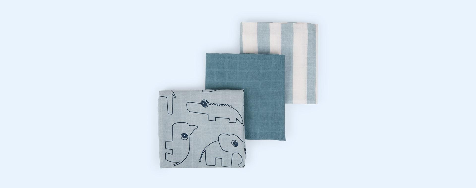 Deer Friends Blue Done By Deer 3-Pack Organic Burp Cloth Deer Friends