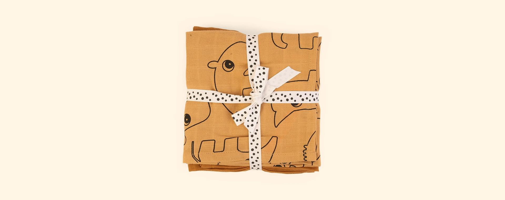 Deer Friends Mustard Done By Deer 3-Pack Organic Burp Cloth Deer Friends