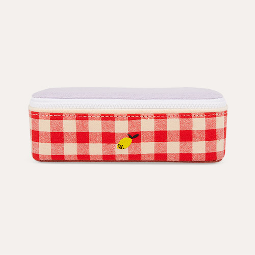 Gingham Poppy Sticky Lemon Pencil Box