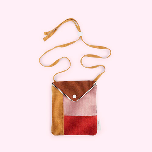 Dusty Pink and Marmalade Red Sticky Lemon Corduroy Wallet Bag