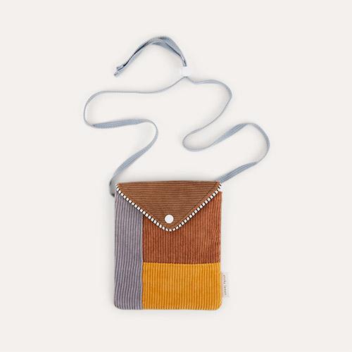 Walnut Brown and Marigold Sticky Lemon Corduroy Wallet Bag