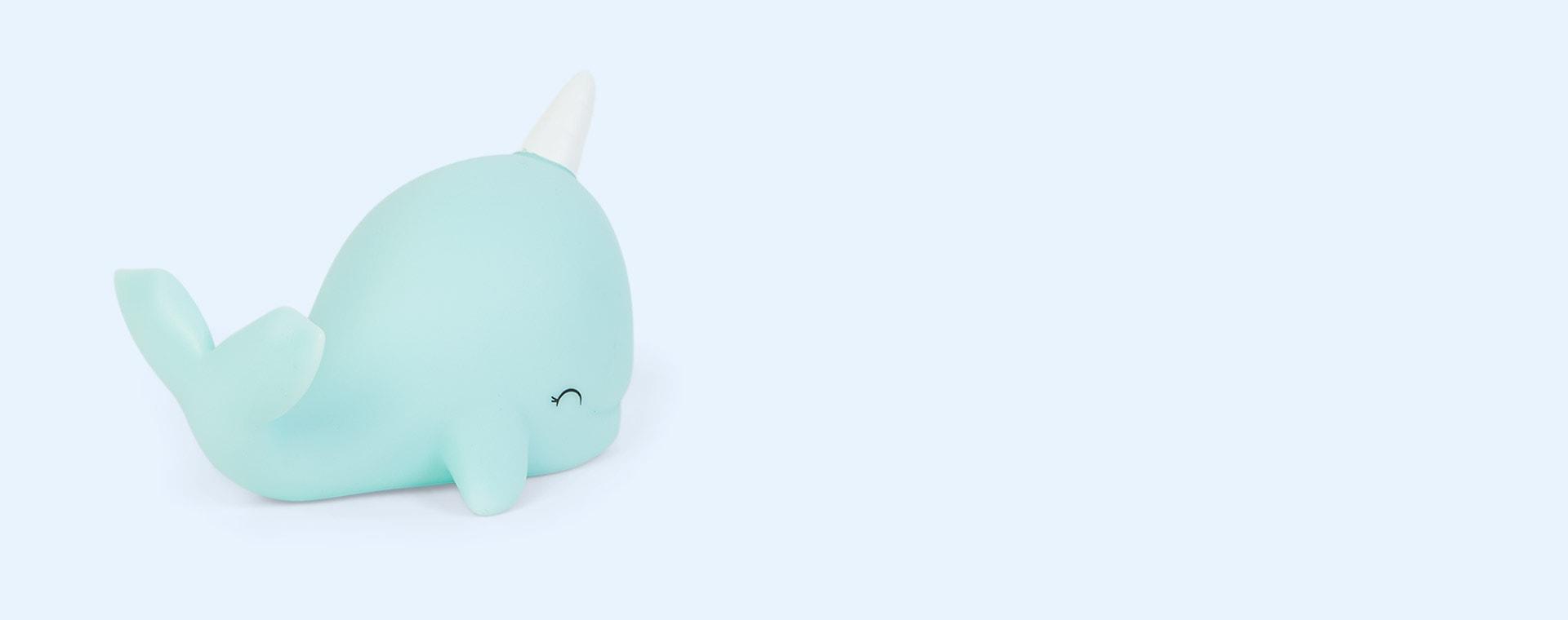 Pastel Blue Narwhal With White Horn Dhink Mini LED Night Light