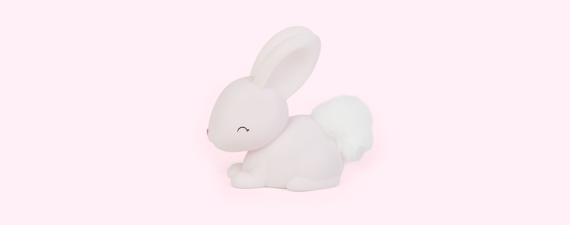 Pink Bunny With Furry Faux Fur Pom Tail Dhink Mini LED Night Light