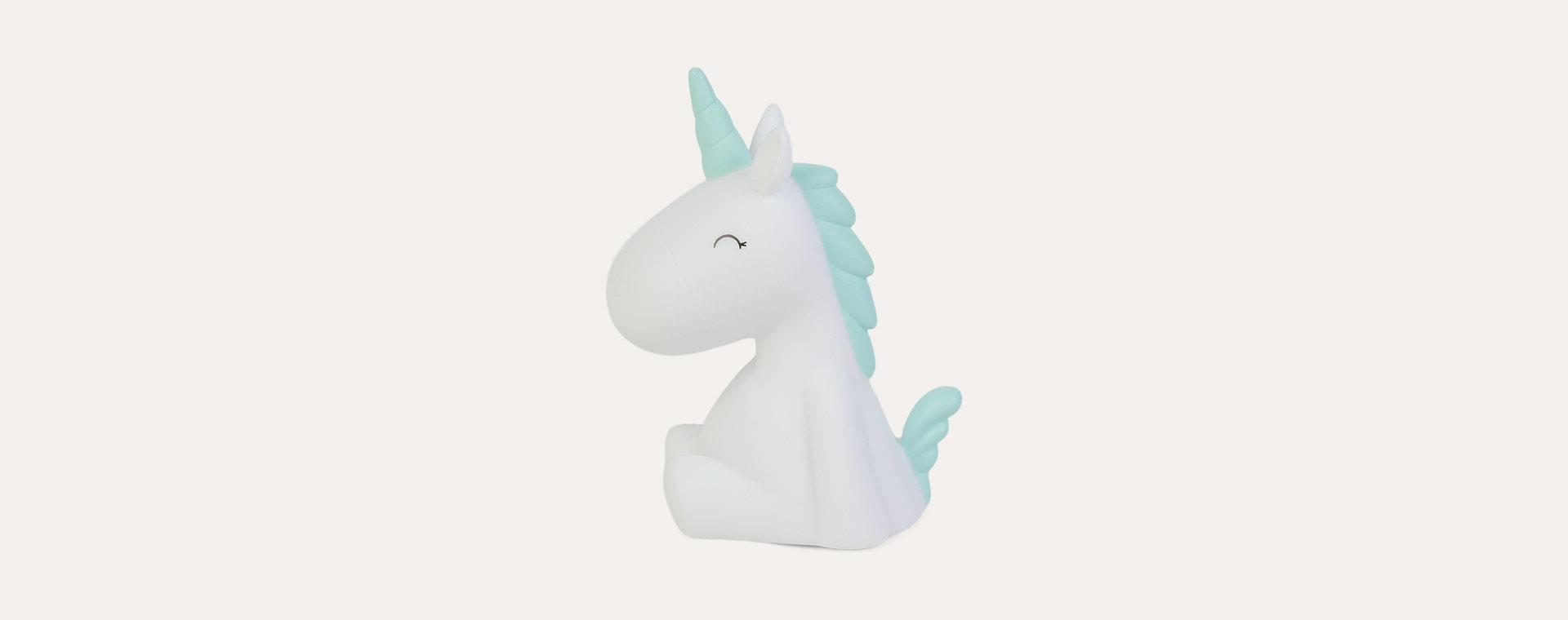 White Unicorn With Pastel Blue Mane & Horn Dhink Mini LED Night Light