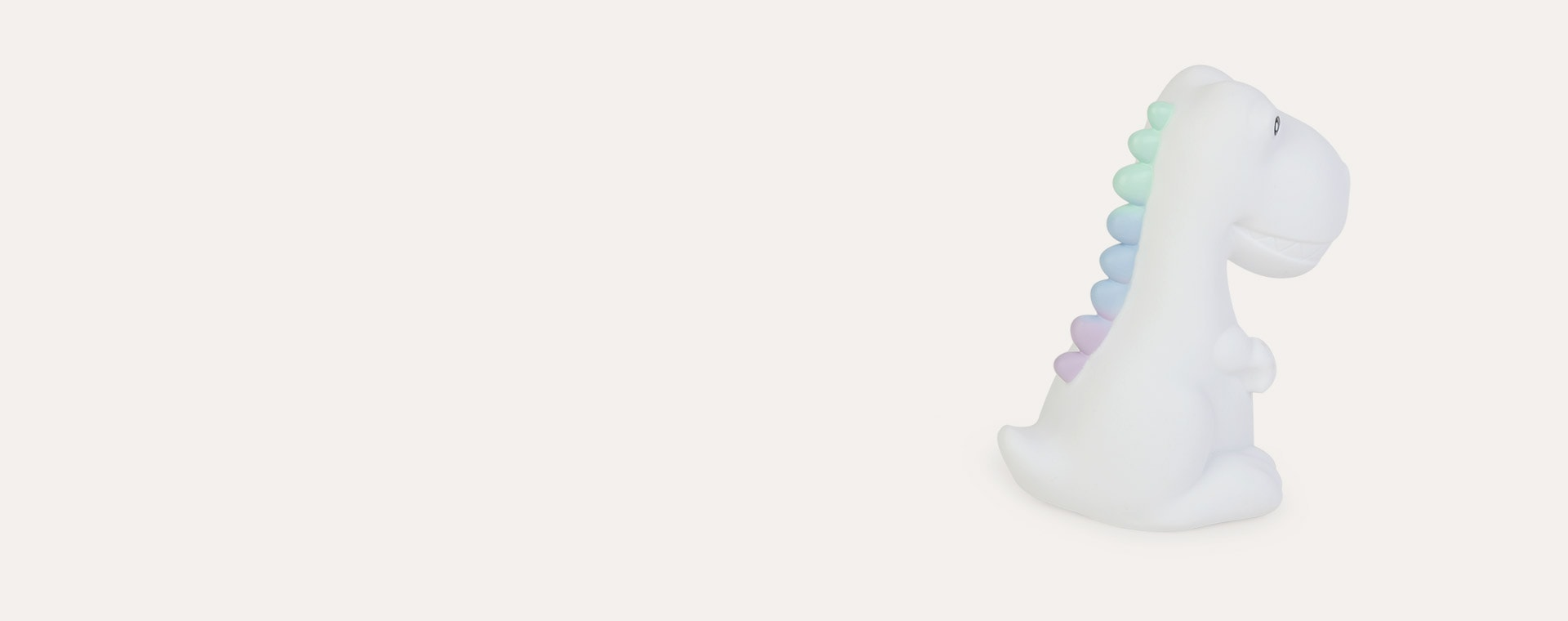 White Dino With Pastel Multicoloured Mane Dhink XL Dino Rechargeable LED Night Light