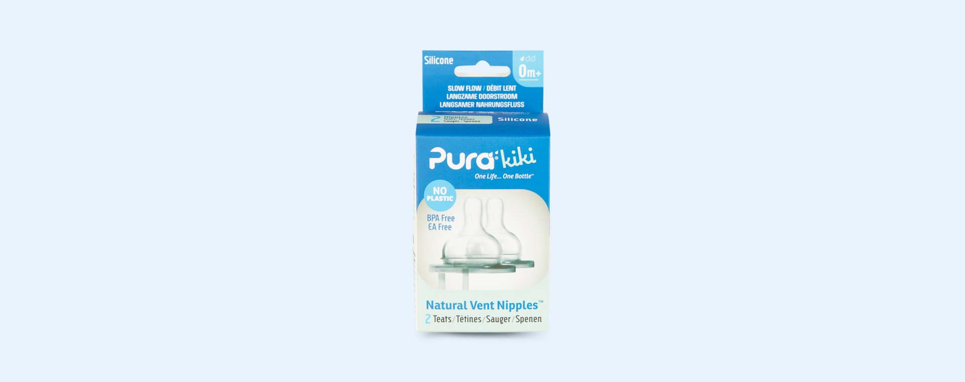Clear Pura Wide Neck Natural Vent Silicone Teat Slow Flow - 2 Pack