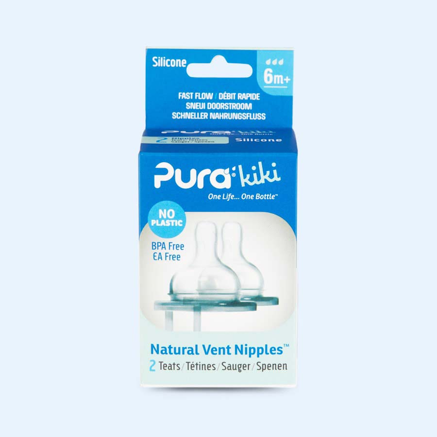 Clear Pura Wide Neck Natural Vent Silicone Teat Fast Flow - 2 Pack