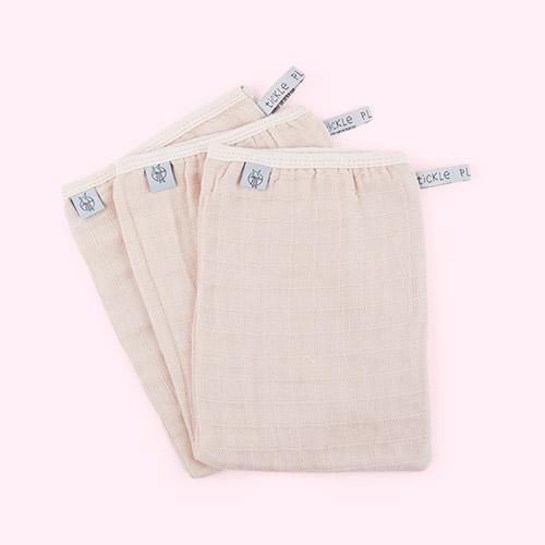 Powder Pink Lassig Muslin Wash Glove Set