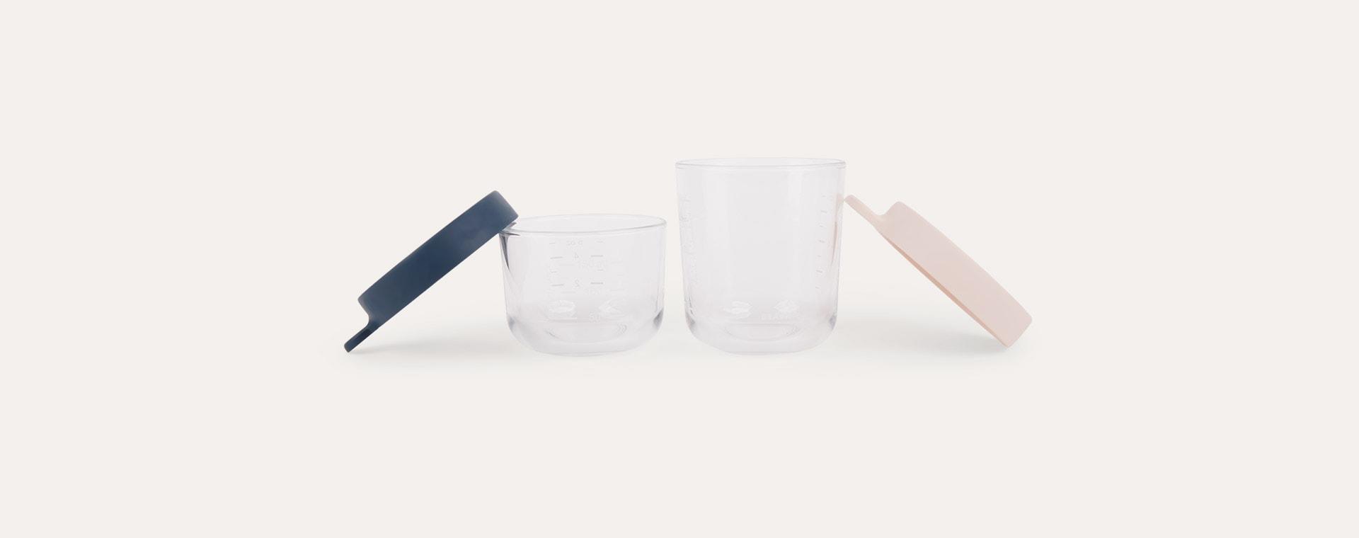 Pink/Dark Blue Beaba Set of 2 Glass Storage Jars