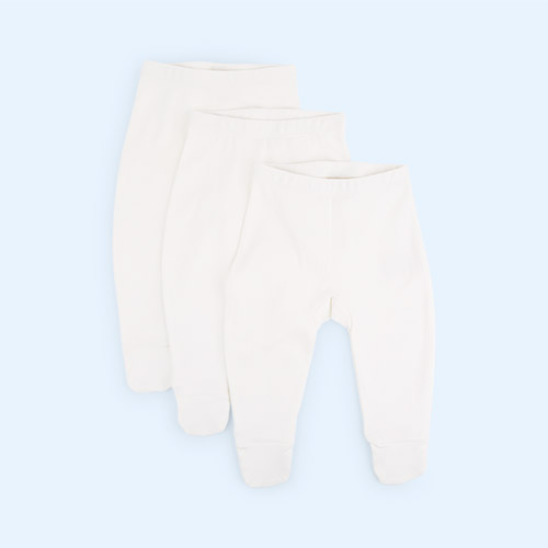 Cream Little Green Radicals 3-Pack Natural Footed Baby Trousers