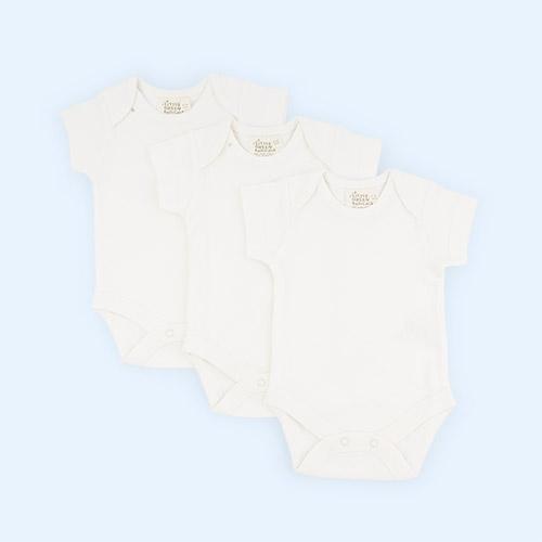 Cream Little Green Radicals 3-Pack Natural Short Sleeve Baby Body