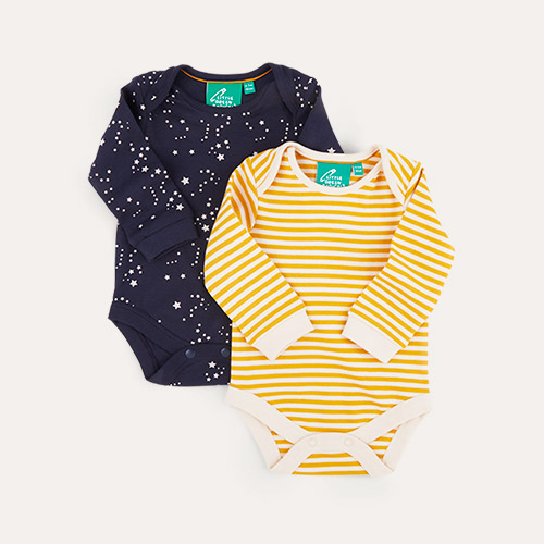 Soft Navy & Gold Stripe/ Starry Night Little Green Radicals Baby Body Set