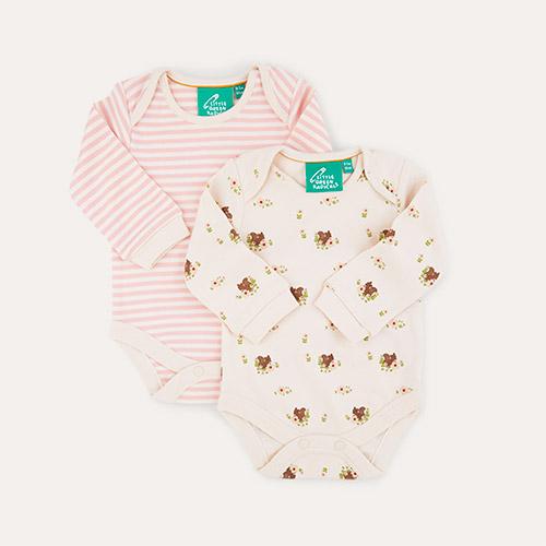 Autumn Squirrel/Pink Stripe Little Green Radicals Baby Body Set