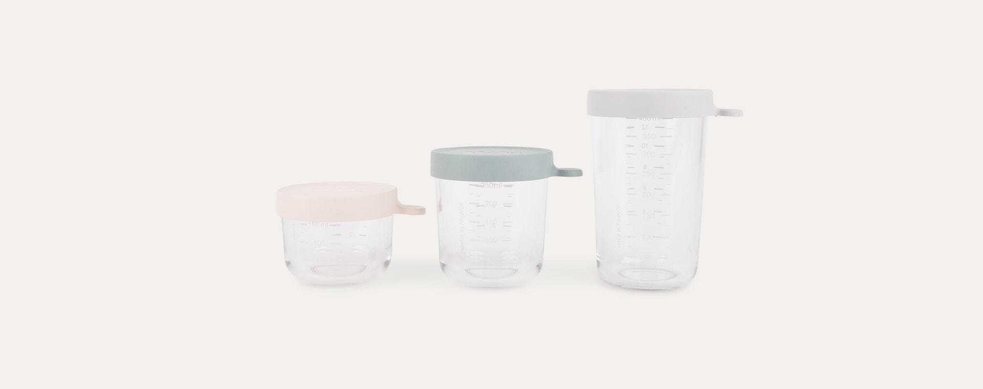 Pink / Eucalyptus Green / Light Mist Beaba Set of 3 Glass Storage Jars