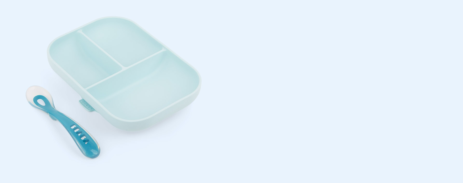Blue Beaba Silicone Suction Compartment Plate