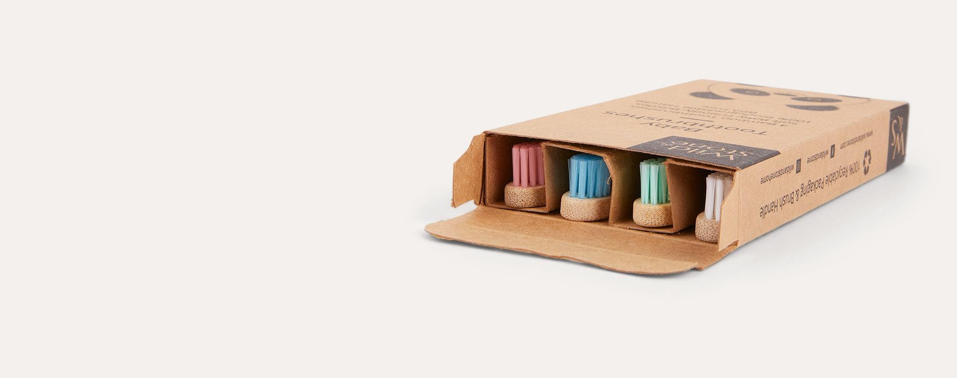Blue, White, Pink & Green Wild & Stone 4-Pack Organic Baby Bamboo Toothbrush