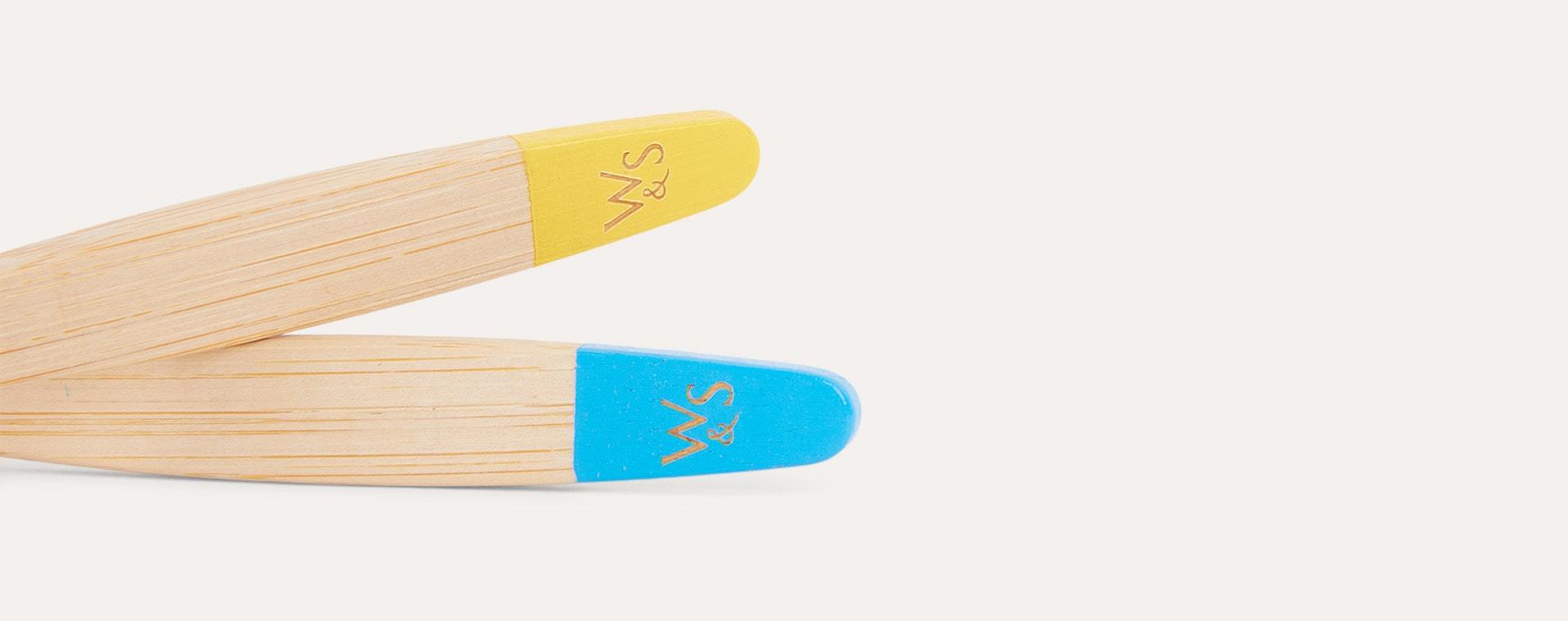Yellow, Blue, Purple & Green Wild & Stone 4-Pack Organic Children's Bamboo Toothbrush