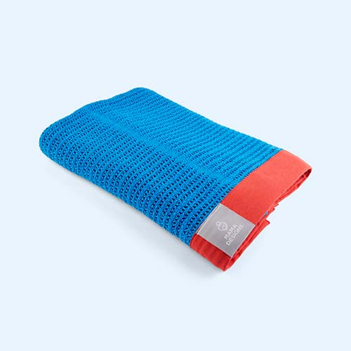 Blue and Red Trim Mama Designs Cellular Blanket