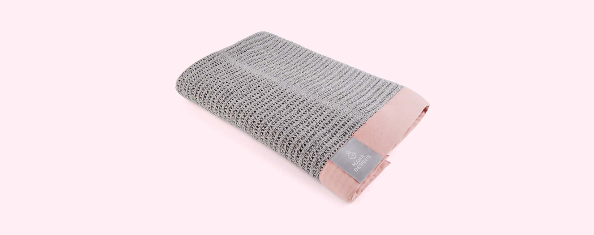 Grey and Pink Trim Mama Designs Cellular Blanket