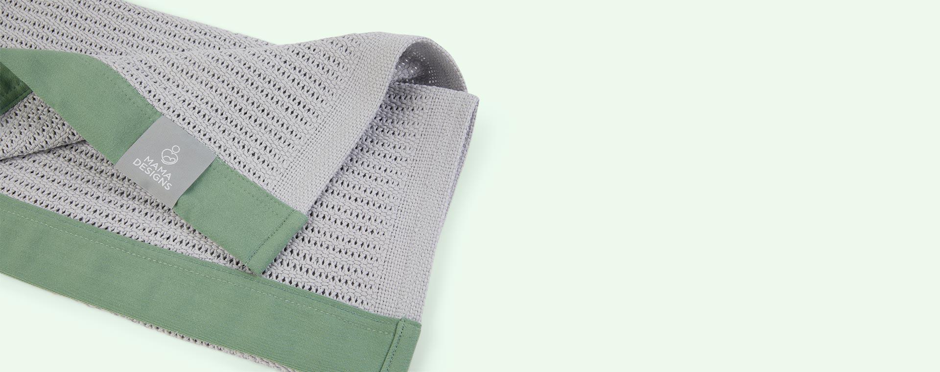 Grey With Green trim Mama Designs Cellular Blanket