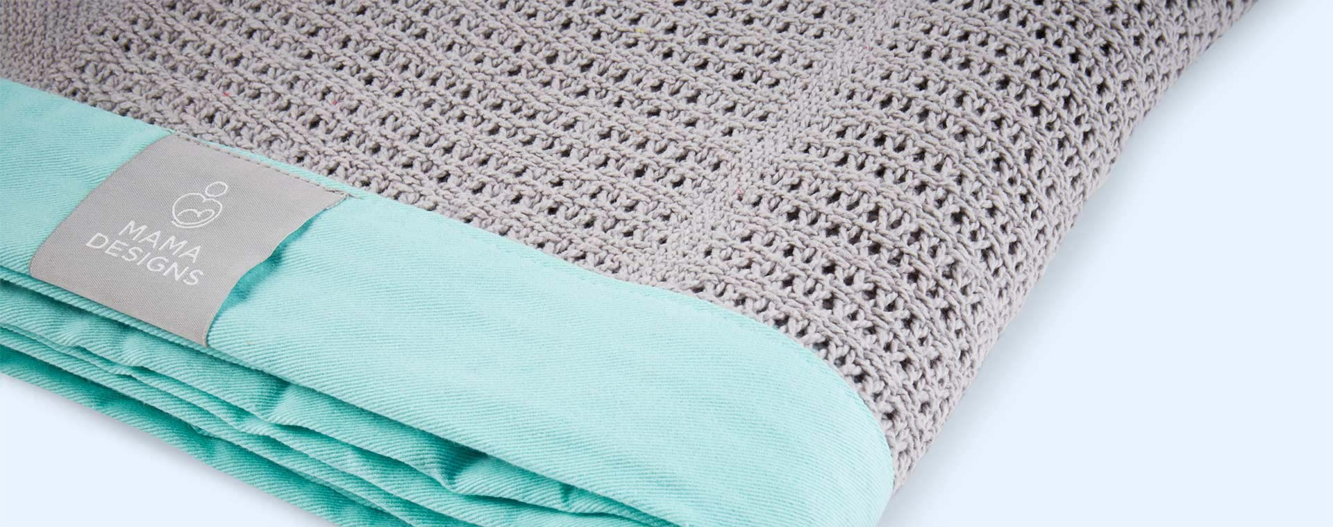 Grey and Turquoise Trim Mama Designs Cellular Blanket