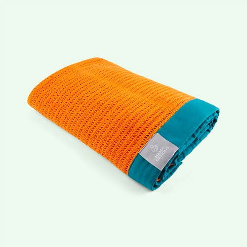 Orange and Teal Trim Mama Designs Cellular Blanket