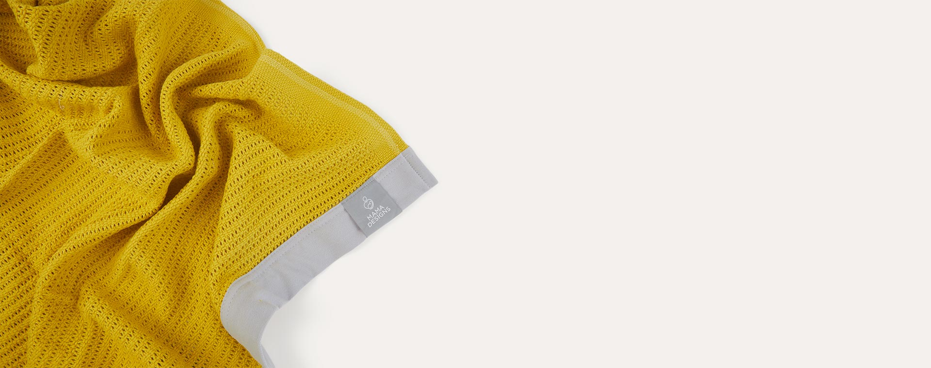 Mustard with Grey Trim Mama Designs Cellular Blanket