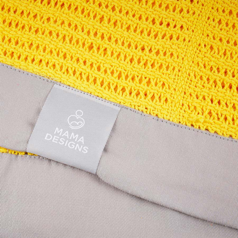 Yellow and Grey Trim Mama Designs Cellular Blanket