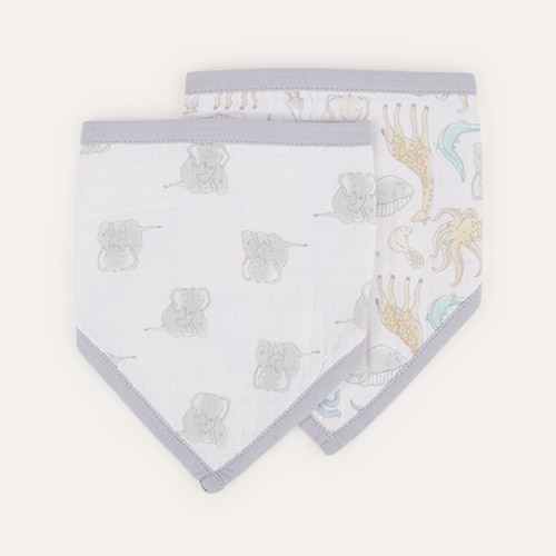 Natural History aden + anais 2-Pack Essentials Cotton Muslin Baby Bandana Bibs