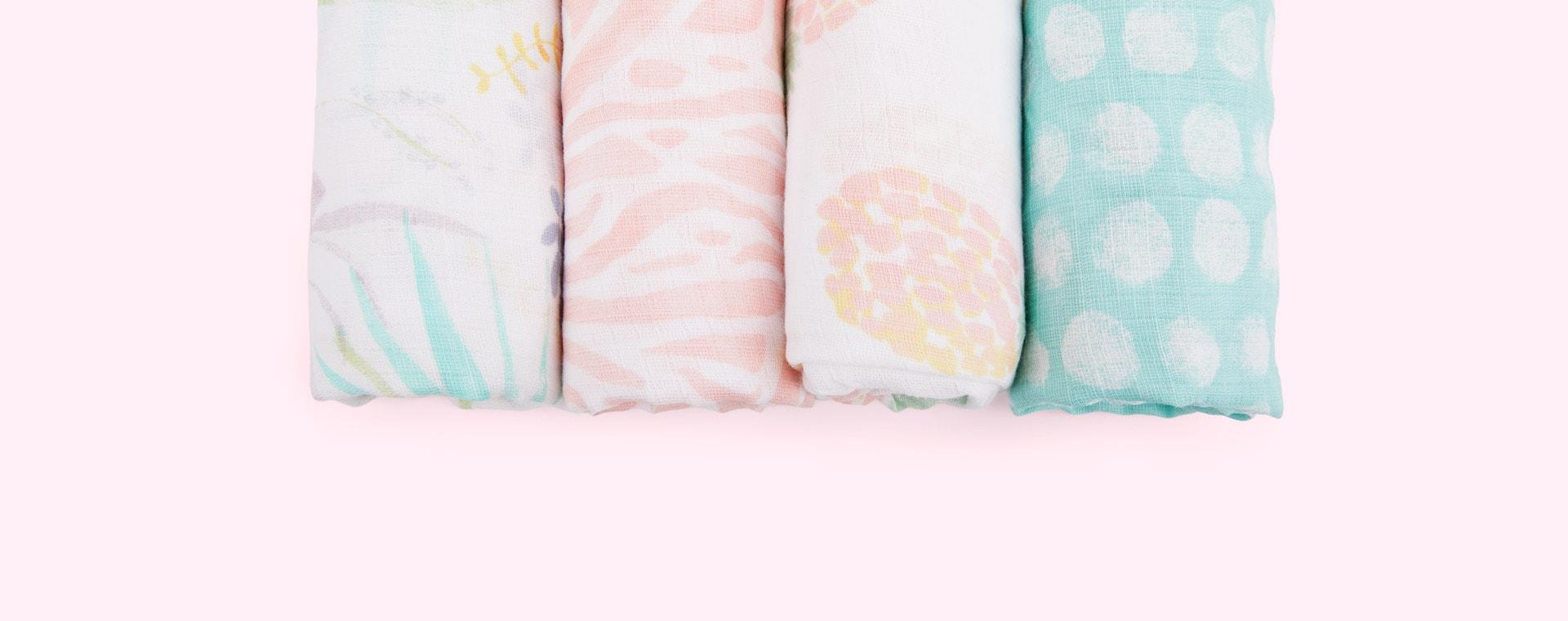 Tropicalia aden + anais 4-Pack Essentials Cotton Muslin Swaddle Blanket