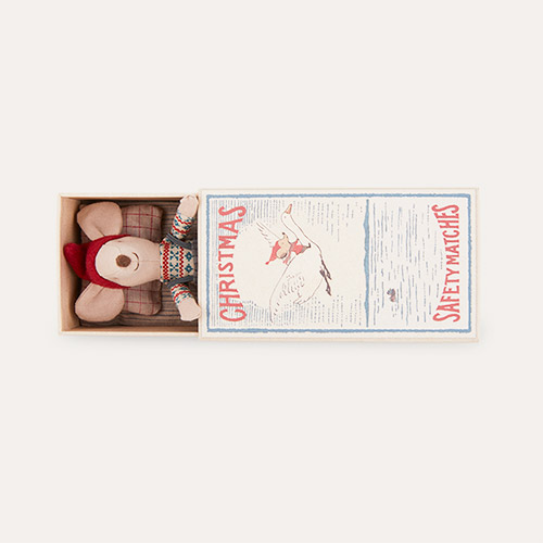 Multi Maileg Christmas Mouse In Matchbox - Big Brother