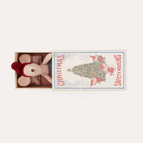 Green Maileg Christmas Mouse In Matchbox - Big Sister