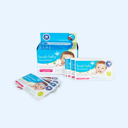 White Brushbaby Dental wipes