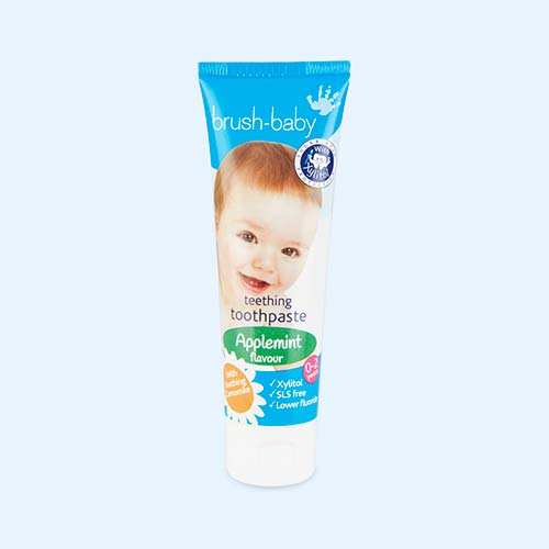 White Brushbaby Applemint Teething Toothpaste