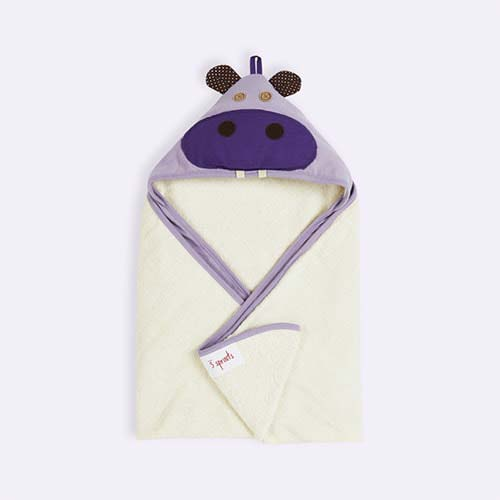 Purple 3 Sprouts Hippo Hooded Towel