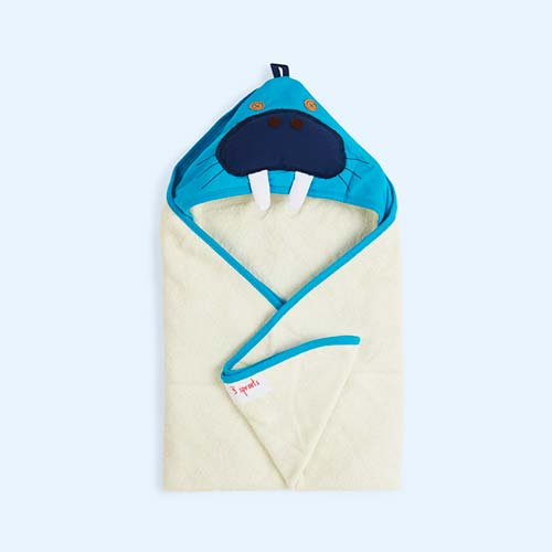 Blue 3 Sprouts Walrus Hooded Towel