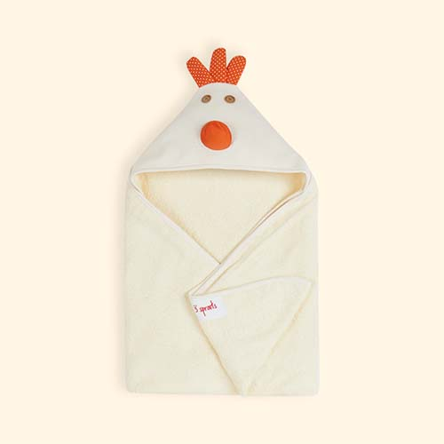 Cream 3 Sprouts Chicken Hooded Towel