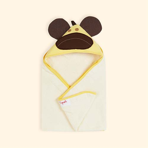 Yellow 3 Sprouts Monkey Hooded Towel