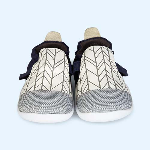 White & Grey Herringbone Bobux Xplorer Origin Trainer