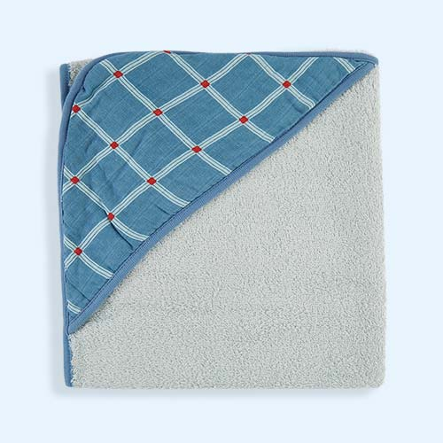 Blue Kidscase Check Hooded Towel