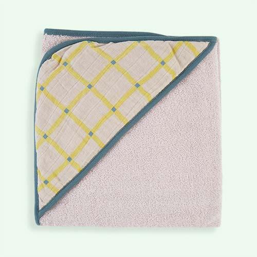 Light Grey Kidscase Check Hooded Towel