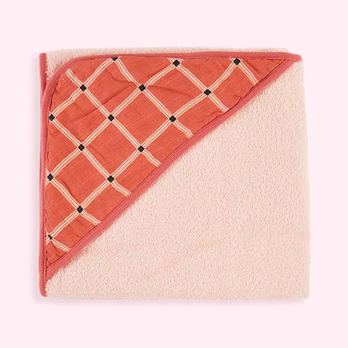 Soft Red Kidscase Check Hooded Towel