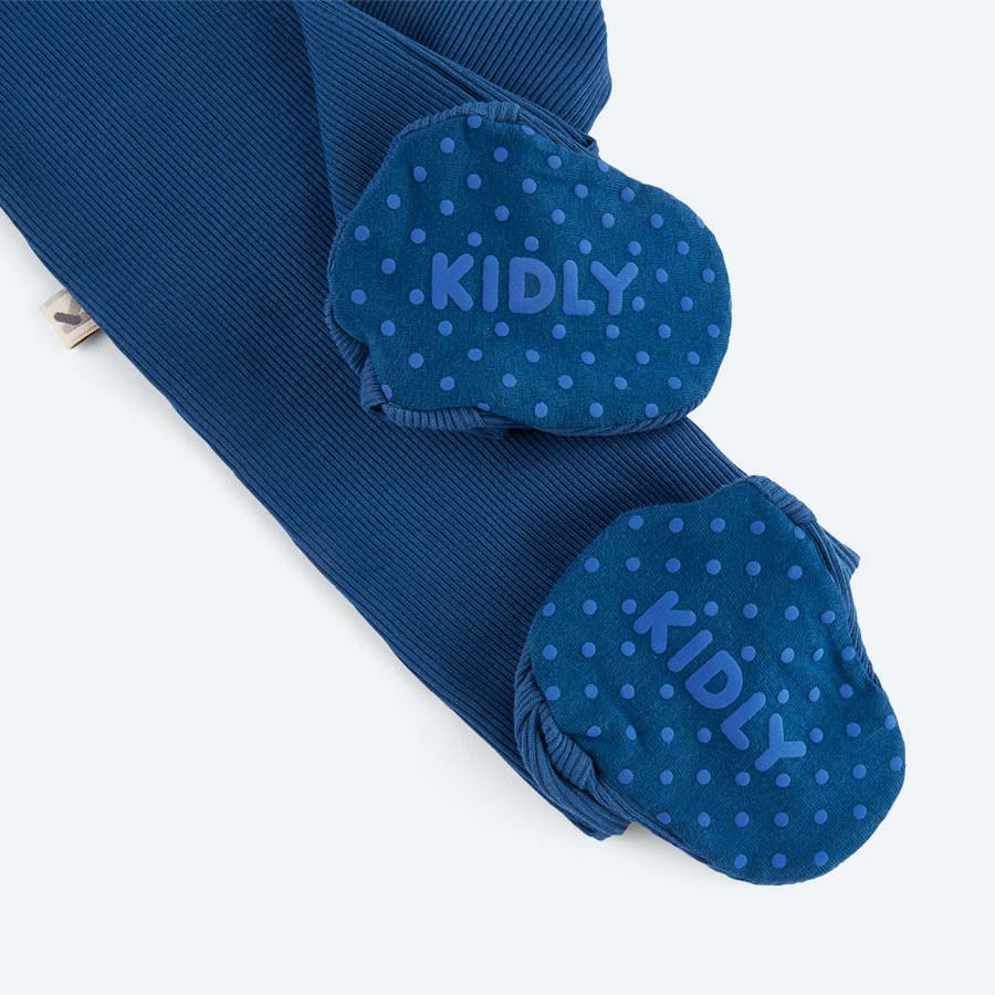 Midnight Blue KIDLY's Own Ribbed Footed Sleepsuit
