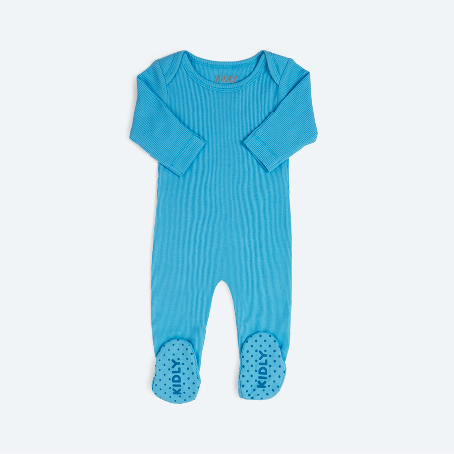 Norse Blue KIDLY's Own Ribbed Footed Sleepsuit