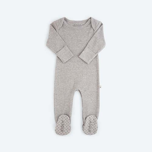 Grey Marl KIDLY's Own Ribbed Footed Sleepsuit