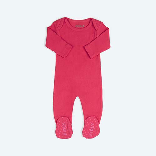 Hot Pink KIDLY's Own Ribbed Footed Sleepsuit