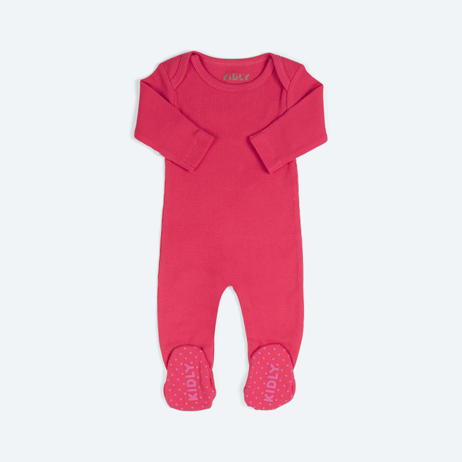 Hot Pink KIDLY Charlie Ribbed Footed Sleepsuit